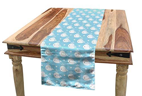 ABAKUHAUS Wal Tischläufer, Blaue Baby-Dusche-Design, Esszimmer Küche Rechteckiger Dekorativer Tischläufer, 40 x 300 cm, Hellblau Weiß