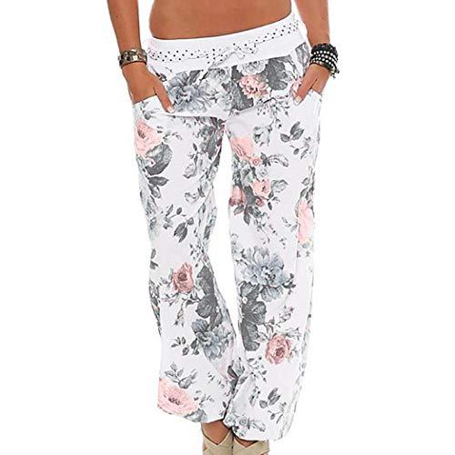 Pantalon Fluide Femme Imprimé Florale Bohême Pants Éléphant Yoga Doux Casual Losse Chic SANFASHION(Blanc,L)