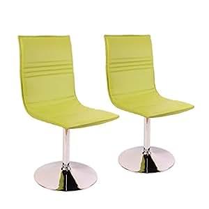 Lot de 2 chaises Foggia, salle à manger, simili-cuir, vert