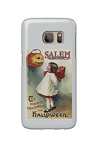 Salem, Massachusetts - Halloween Greeting - Girl in Red and White - Vintage Artwork (Galaxy S7 Cell Phone Case, Slim Barely There)