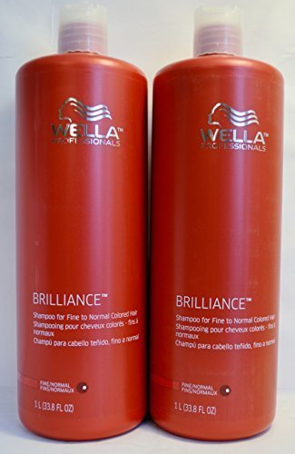 Wella Brilliance Shampoo for Fine to Normal Colored Hair 33.8oz (2 Pack) by Wella