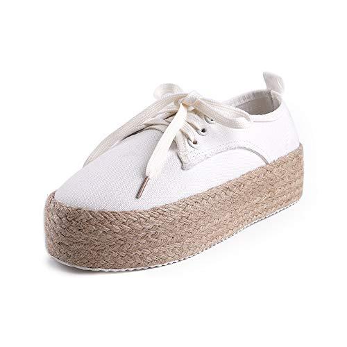 Alpargatas Plataforma Mujer Sneaker Esparto Zapatillas Deporte Cuna Moda Zapatos de Lona con Cordones...