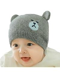 Gorro de invierno bebés YeahiBaby Bebés Niño Niña Sombrero de invierno  cálido de punto 3857cb6a8af