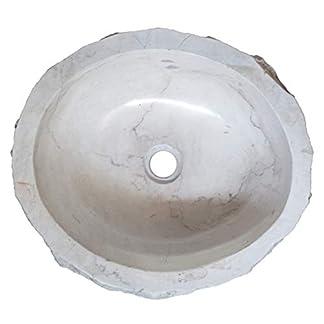 Biggi N920 – Lavabo de Piedra de mármol Blanco indonesio para baño, Ovalado, de Apoyo, Lavabo, Pieza única