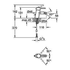 Grohe 32209001 Monomando de Bidé 1/2 Pulgadas Tamaño S, Cromo (Chrome)