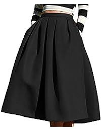 Winfon Femme Jupe Patineuse Taille Haute Vintage Mi Longue Chic Rétro Midi  Jupe Plissée 670aeaffa62e