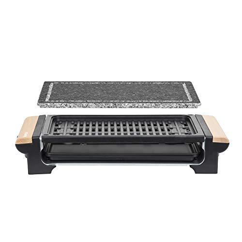 H.Koenig RP320 Barbecue Elektro-Tischgrill / Marmor-Grillplatte / Grillrost / 1300 W / Holzgriffe -