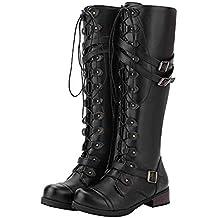 OSYARD Damen Schnürer Langschaftstiefel Flache Niet Lederstiefel  Schneestiefel Combat Boots Frauen Steampunk Gothic Vintage Style Retro 9cb48f0bd9