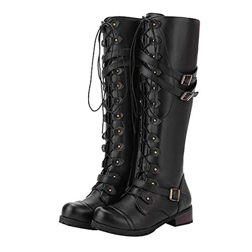 HOOUDO Women Winter Retro Boots Steampunk Gothic Vintage Style Punk Buckle Lace-Up Knee Round Toe Shoes Military Combat Boots