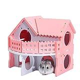 KEISL Hamster-Haus aus Hamster, schlafende Farbe Nistkasten kleines Haus Nistholz Bär Welpe Doppelschicht Ambiente Bungalow Villa(Rosa)
