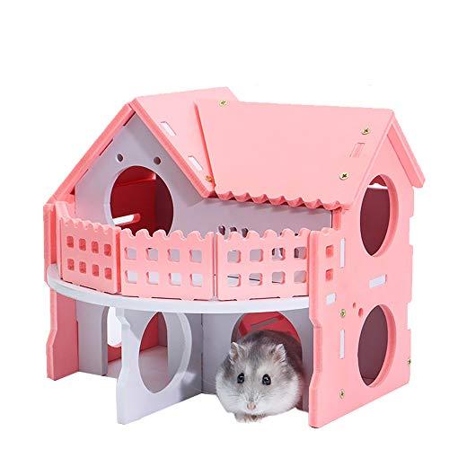 KEISL Hamster-Haus aus Hamster, schlafende Farbe Nistkasten kleines Haus Nistholz Bär Welpe Doppelschicht Ambiente Bungalow Villa(Rosa) -