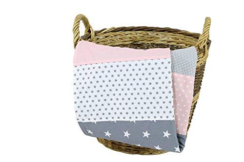ULLENBOOM ® Babydecke Rosa Grau (70x100 cm Baby Kuscheldecke, ideal als Kinderwagendecke, Spieldecke geeignet, Motiv: Punkte, Sterne, Patchwork)