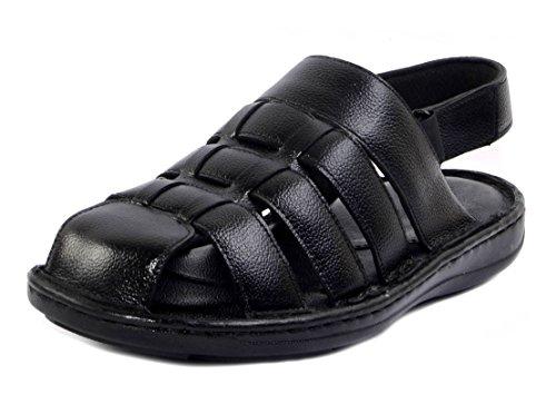 Wallcruz Men's Black Leather Floaters - 8 UK