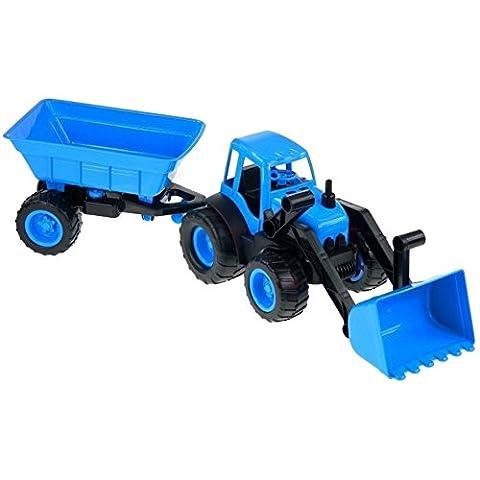 Brigamo 10173 - Spielzeug Bagger mit Frontschaufel und Anhänger, Sandkastenspielzeug (Smoby Kletterturm)