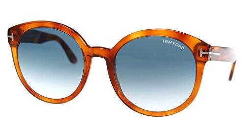 Tom Ford Frau FT0503 Philippa Sonnenbrille w/Blau Gradient Lens 53W TF503 Blonde Havana groß