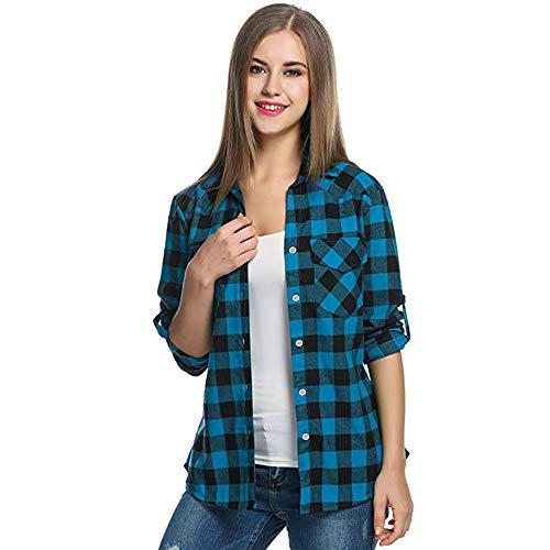 Kobay Camicie in Flanella a Quadri Scozzesi da Donna Camicetta arrotolata  con Maniche Corte(Blu fe82250042a