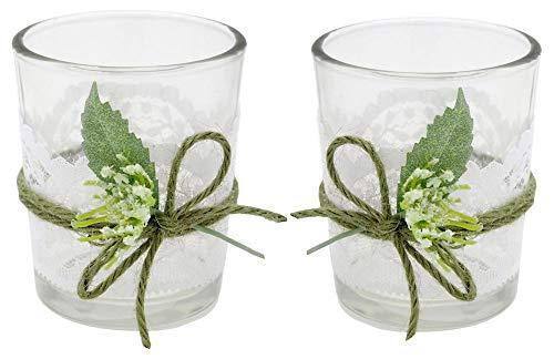 ZauberDeko 2X Teelichtglas Weiß Grün Tischdeko Deko Hochzeit Vintage Geburtstag Kommunion Konfirmation Jenny