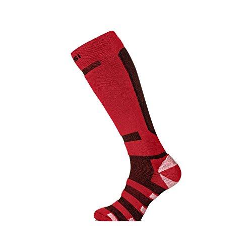 Nessi - Calze termiche da sci/snowboard, unisex, traspiranti, Rosso (Rosso/Nero), 42-44