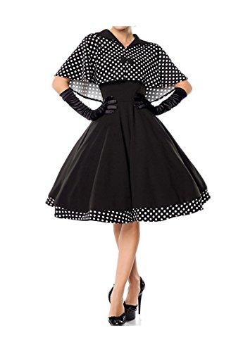 Belsira Damen Swing-Kleid mit Cape im Retro-Style XL