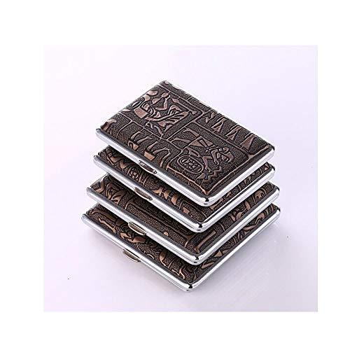 Bellamente empaquetados para proteger sus cigarrillos en el bolsillo del pantalónNombre del producto: Creative Metal Cigarette CasePeso bruto del producto: 140 gColor: oro, plataEspecificaciones: 14 paquetes, 16 paquetes, 18 paquetes, 20 paquetesMate...