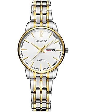 Frauen Art und Weise analoge Quarz Gold Uhrengeschäft Edelstahl Armband Kleid klassische Kalendertag