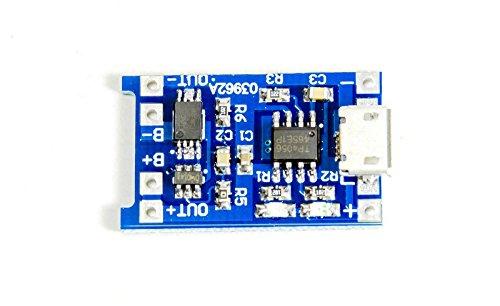 Batería de tipo ion de litio o polímero, administrador de carga con chip TP4056 con protección para sobrecarga y bajo voltaje para Arduino o Raspberry Pi, con microcontrolador.Perfectas para:Proyectos de energía solar en el jardín.Cargador solar.Carg...
