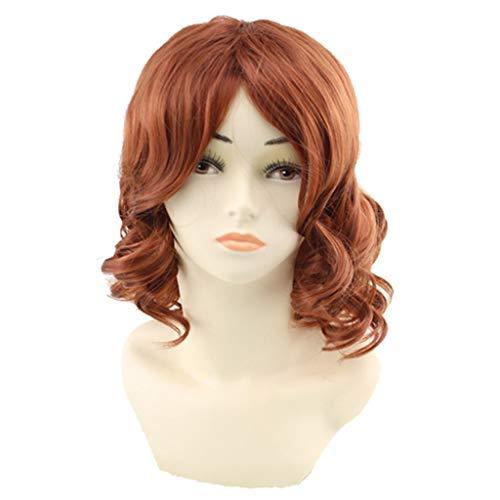 Haarteile Weibliche Frauen Mode kurze blonde lockige Perücken Seitenteil gewelltes Haar Schulter Länge Casual Cosplay Perücke