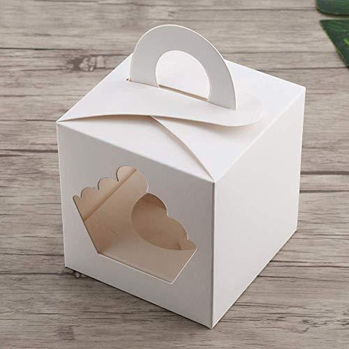 iß Cupcake Boxes, Hochzeit Geburtstag Cupcake Muffin Fenster Boxen mit Griff, 10x 10x 10,5cm, Loch Innen Durchmesser 6cm ()