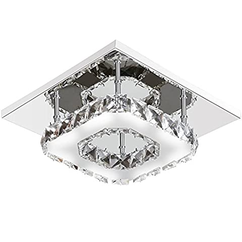 Mabor Crystal Ceiling Light, 12W LED Modern Pendant Stainless Steel Flush Mounted Ceiling Lamp for Hallway, Aisle, Porch, Bedroom, etc., 4000 to 4200K White