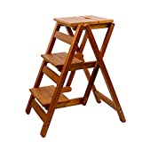 3 Schritte Ladder Hocker Multifunktions-Dual-Use-Schritt Hocker Haushalts-Klapp-Treppe Alle Solid Wood Step Ladder (Farbe : Brown)