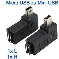 KRS - 9X - 90° Adapter winkel Stecker von Micro USB auf Mini USB gewinkelt 2 Stück 1x rechts / 1x links