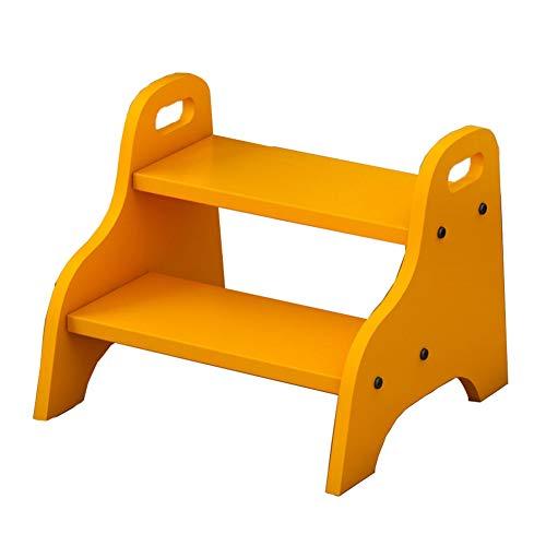 TH Klappstufen 2 Steps Kinderhocker Multifunktions-Tritthocker, Balkon-Haushaltsleiter-Hocker - Gelb 40 × 38 × 33 cm