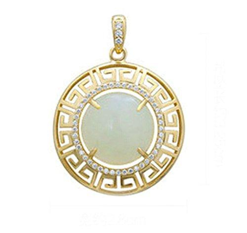Epinki 925 Sterling Silber Damen Halskette, Greek Schlüssel Rund Form Anhänger Elegant Silberkette Damenkette Gold 3.2x2.8 CM mit Zirkonia -