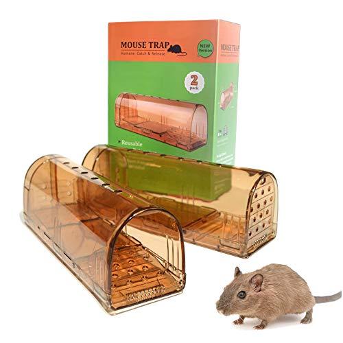 Trampa para Ratones, Vivos, Ratonera con Cebo, Pack de 2, Jaula, Fácil de Usar, Multicaptura, Automática, Humano, Sin Muerte, Mouse Trap