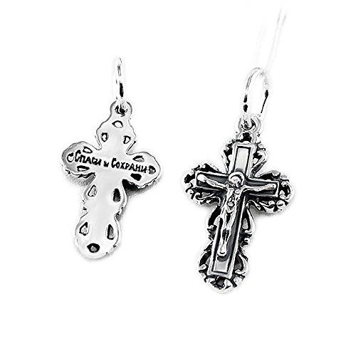 NKlaus Silberkreuz Kruzifix Kreuz 925er Sterlingsilber orthodox Anhänger Taufe russisch k16