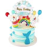 JUZNOY TortendekoGeburtstag Einhorn, Kuchendekoration Geburtstag EinhornJunge Mädchen, Geburtstagskuchen Deko mit Einhorn, Happy Birthday Girlande, Luftballons, Wolke und Regenbogen