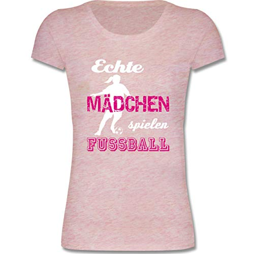 Sport Kind - Echte Mädchen Spielen Fußball weiß - 134-146 (9-11 Jahre) - Rosa meliert - F288K - Mädchen T-Shirt