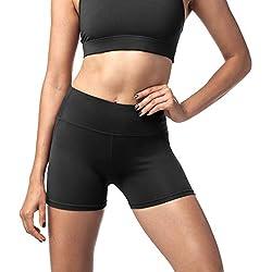 LAPASA Pantaloncini Sportivi Donna Fitness Shorts Sportivi per Allenamento Palestra Running L09 (XL/46(Vita 74-84 cm), Nero Super Opaco)