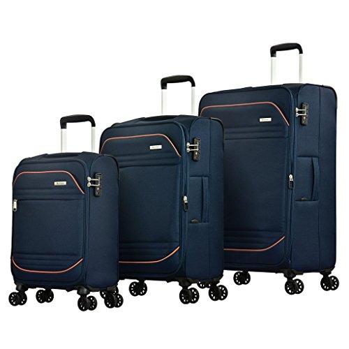 Eminent Set di valigie Barcelona 3pcs Leggero 4 Ruote doppie silenziose Lucchetto TSA Blu
