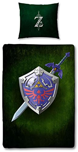Character World Wende Bettwäsche Set The Legend of Zelda, 135x200 cm 80x80 cm, 100% Baumwolle Linon mit Reißverschluss (Zeld Cross)
