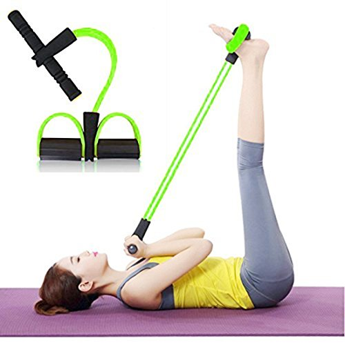 HeavenFort Multifunctional 4 Tubes Latex Foot Elastic Pull Rope Expander Muscle Fitness Workout Pedal Sports Equipment Resistance Bands