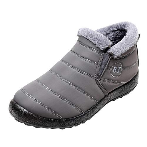 Xuthuly Winter Paar Mode bequem warm halten Plus Samt Schneeschuhe lässig Kurze einfarbig flach Slip On Ankle Boots