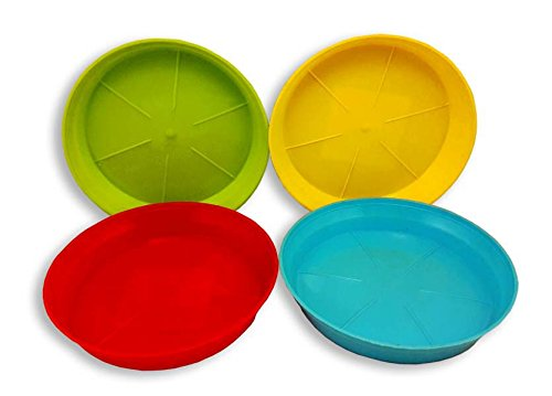 Dineshalini Garden Pot Planter Bottom Plates - Set of 4, Plastic Spil Trays, Base Trays, Best Quaity, Non Breakbale, Coasters, Red, Blue, Green , Yellow and many more Colors.  available at amazon for Rs.169