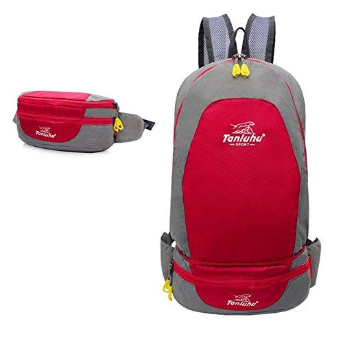 Rmine Faltbarer Rucksack Wasserdicht Ultraleicht Tagesrucksack Trekkingrucksäcke Daypack 12L Rot