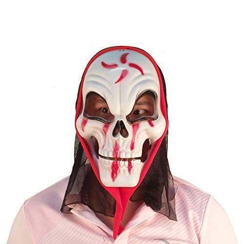 YKQ WS Halloween Maske Horror Scary Party Make-up Prom Dress Bühnenshow Dekoration Geeignet für Männer und Frauen (Farbe : Weiß)