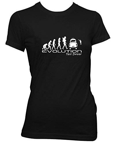 Evolution of a taxi driver Ladies Camiseta Para Mujer unique funny gift t shirt womens Black shirt white print