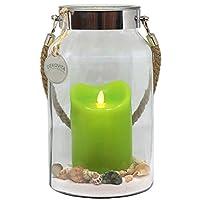 Dekovita idea regalo 30 centimetri vetro decorativo più LED vera candela a cera con fiamma mobile e sabbia decorativa  L'idea regalo perfetta per tutti coloro che vogliono regalare un regalo personale, individuale ed esclusivo ad una persona ...