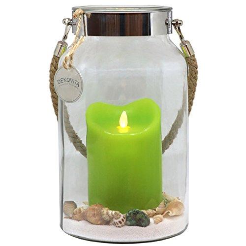 Dekovita Idea para Regalo 30cm Decoglass LED Vela de Cera verde Real con llama en movimiento y Deco-Sand Pascua Cumpleaños Día de la Madre