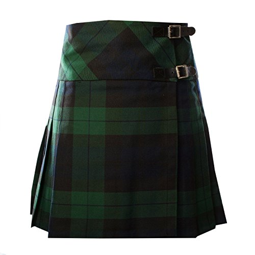 Heritage of Scotland Ladies Scottish Black Watch Tartan Deluxe Polyviscose Billie Kilt New (UK 16)