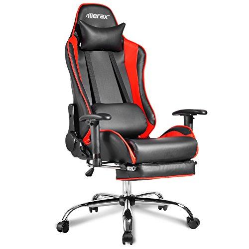 Merax Gamingstuhl Racing Bürostuhl Schreibtischstuhl Ergonomische Stuhl mit Fußstütze Chefsessel mit Kissen Sportsitz Bürostuhl Belastbar bis 150kg Schwarz-rot